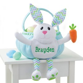 Personalized Easter Baskets Canada-Personalized Blue Bunny Embroidered Kids Easter Basket