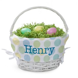 Personalized Easter Baskets Canada-Personalized Boys Easter Basket with Custom Name Printed on Polka Dot Liner, Blue Letters