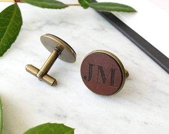 Personalized Cufflinks with Leather