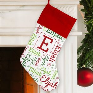 custom Christmas stockings Canada-Personalized Elf Watch Word-Art Christmas Stocking