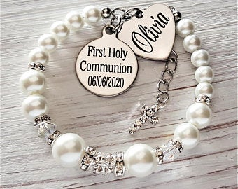 Personalized Fist Holy Communion Bracelet