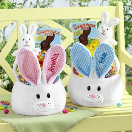 Personalized Easter Baskets Canada-Personalized Large Plush Bunny Easter Basket