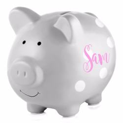 Toddler Gifts Canada-Personalized Piggy Bank – Grey Polka Dots