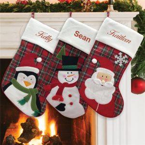 custom Christmas stockings Canada-Personalized Plaid Christmas Stocking