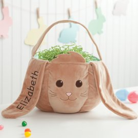 Personalized Easter Baskets Canada-Personalized Plush Kids Easter Basket – Brown Bunny