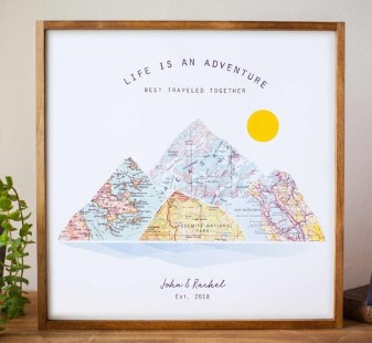 Personalized Wedding Gift Custom Travel map Art