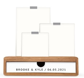 Personalized Wooden Guestbook DropBox With Glass Picture Frames