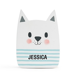 Ring Bearer Gifts Canada-Personalized Wooden Piggy Bank For Kids- White Cat