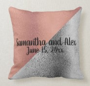 Pink Rose Gold and Silver Metallic Wedding Date Throw Pillow