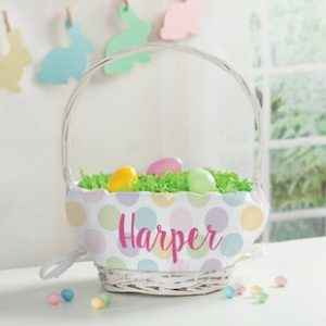 Personalized Easter Baskets Canada-Polka Dots Personalized Easter Wicker Basket