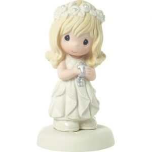 Hallmark Canada First Communion Gifts-Precious Moments May His Light Shine Blonde Girl Figurine, 5.25 inch H