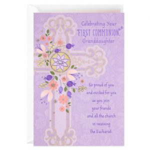 Hallmark Canada First Communion Gifts-Purple Flowers and Cross First Communion Card for Granddaughter