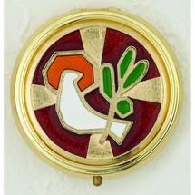 Red Enameled with White Holy Spirit Pyx