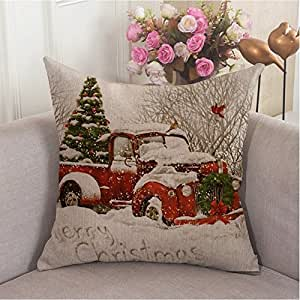 Cool Christmas Gifts Canada-Red Truck Tree Christmas' Sofa Decoration Pillow Cover 18X18 inches