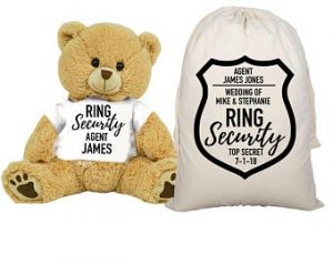 Ring Bearer Gifts Canada-Ring Security Teddy Bear and Gift Bag 8 inch Tan Plush Gift for Wedding Party