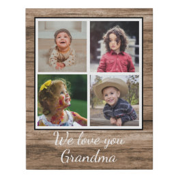 Grandma Gifts Canada-Rustic Brown Wood 4 Photo Collage Grandma Faux Canvas Print