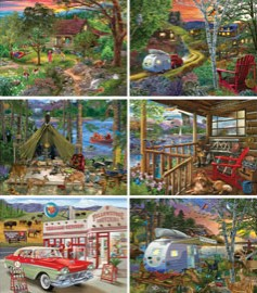Set of 6 - Bigelow Illustrations 300 Large Piece Jigsaw Puzzles