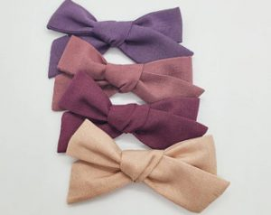 Toddler Gifts Canada-Solid Colour Handtied Fabric Hair Bows