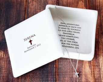 Square Keepsake Box with Cross Necklace