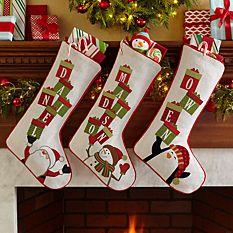 custom Christmas stockings Canada-Stacking Presents Name Stocking_