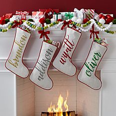 custom Christmas stockings Canada-Swirl Name Stocking