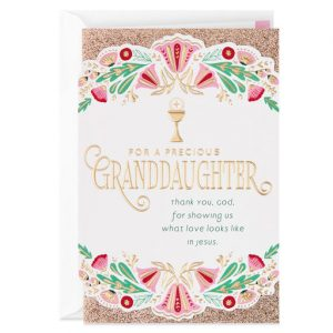Hallmark Canada First Communion Gifts-Thanking God for You First Communion Card for Granddaughter