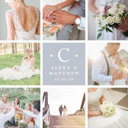 Wedding Monogram Photo Collage Plaque