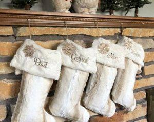 custom Christmas stockings Canada-White Birch and Ivory Fur Personalized Christmas Stockings