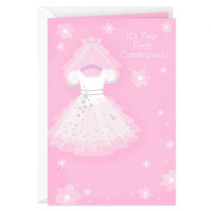 Hallmark Canada First Communion Gifts-White Dress With Veil First Communion Card
