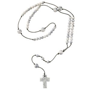 Hallmark Canada First Communion Gifts-White Marble Tones Ceramic Rosary
