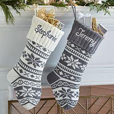 custom Christmas stockings Canada-Winter Snowflake Knit Stocking_