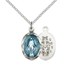 Women's Petite Miraculous Medal with Blue Enamel Necklace