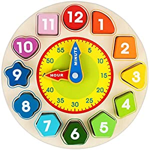 Toddler Gifts Canada-Wooden Shape Color Sorting Clock, Apfity Wooden Toy for Baby Toddlers Kids, Teaching Time Number Blocks Puzzle Stacking Sorter Montessori Educational Learning Toy for 1 2 3 Year Olds