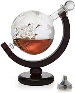 Zarif Global Whiskey Decanter with Antique Ship inside and Wood Stand