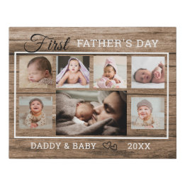First Father's Day Gifts Canada-first fathers day 7 Photo Collage Rustic Wood Faux Canvas Print