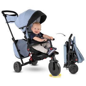 Toddler Gifts Canada-smarTrike STR7 - 7 Stage Folding Stroller Certified Luxury Baby Trike - Denim - Toys R Us Exclusive
