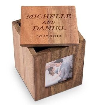 Custom Wood Keepsake Box With Frame- Classic Couple Etching