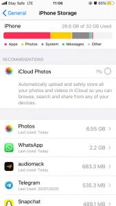 How to clear cache on iPhone-Phone Storage Expanded