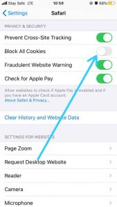 How to clear cache on iPhone-Block All Cookies