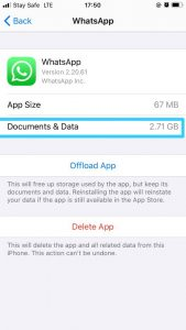 How to clear cache on iPhone-WhatsApp Documents & Data