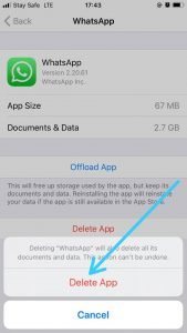 How to clear cache on iPhone-WhatsApp Delete Confirmation