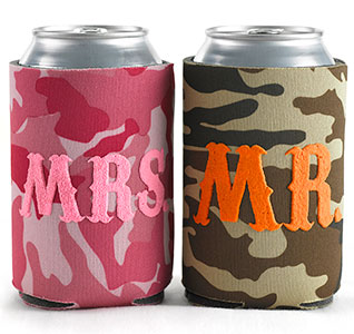 Mr & Mrs Camo Wedding Can Coolers