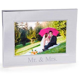 Mr. & Mrs. Beaded Silver Frame