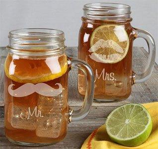 Mr. & Mrs. Mustache and Lip Wedding Mason Jars