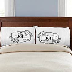 Mr. Right Mrs. Always Right Pillowcases - Set of 2
