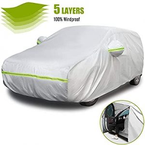 universal accessories for cars-5 Layers Hatchback Car Cover with Side Door Zipper Design