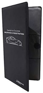 universal accessories for cars-ANDALUS Premium Car Registration and Insurance Documents Holder, Essential Auto Glove Box Organizer Wallet (Black, 1-Pack)