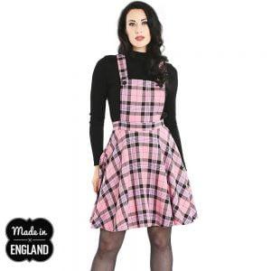 Alternative Plus Size Clothing-Daltson Tartan Retro Pinafore Dress – Pink Black