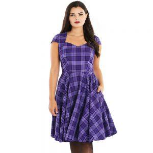 Alternative Plus Size Clothing-Kennedy Retro Plaid Mid Dress