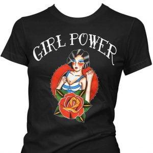 Alternative Plus Size Clothing-Pinky Star Women's Retro T-Shirt – Girl Power (Tattoo)